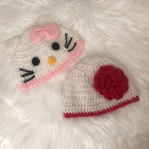 Hello kitty Crochet Hat with flower for baby